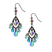 Open Black Marquis and Mirrored Bead Fringe Drop Earring