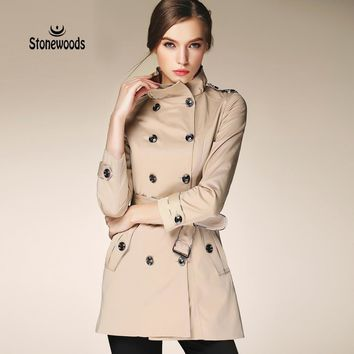 Trench Coat For Women European British Style Leisure Duster Coat plus Stand Collar Fashion Women's Coats Women