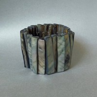 Vintage Modernist WIDE Bracelet Mother of PEARL Panels STRETCH Expansion Organic Natural Shell c.1970's, Summer Beach Jewelry