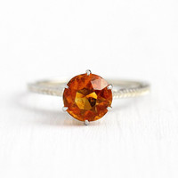 Genuine Citrine Ring - Vintage 18k White Gold November Orange Birthstone 1.17 CT Gemstone - 1930s Art Deco Size 5 3/4 Fine Basket Jewelry