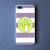 Cabana Stripes Monogram Iphone 5 Case, Monogrammed Iphone 5 Cover, Customized Iphone 5 case -  Purple Green