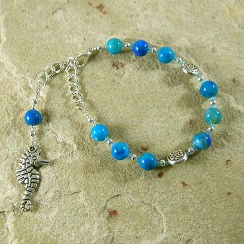 Manannan mac Lir Prayer Bead Bracelet in Blue Agate: Irish Celtic God of the Sea