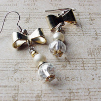 Victorian Bows with Pearls and Crystals pierced earrings Dressy earrings date night earrings bridal jewlery