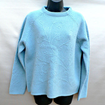 100% Lambswool Crewneck Sweater by Sonoma - Light Aqua Blue - Raised Floral Pattern - Womens Size Large (L)