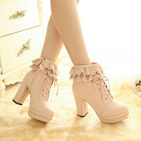 Sweet lace high-heeled shoes