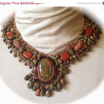 ON SALE Unakite, Necklace, Collar, Nuggets, Carnelian Beads,