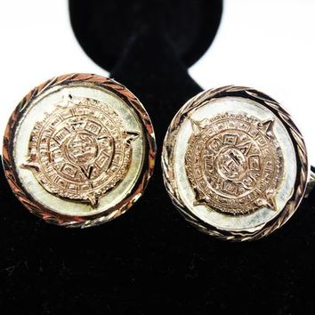 Mayan Calendar Cufflinks 10K Gold and Sterling Silver Tribal Design Round Shape with Eagle Bell #30 Mexico Sterling 925 Jewelry Gift for Men