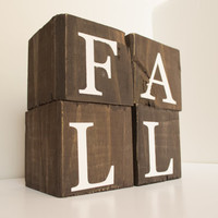 Fall wood blocks - Fall wood sign, rustic fall, Rustic Thanksgiving, Fall decoration, Thanksgiving decor, Rustic home decor, fall mantel