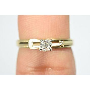 14K Real Gold Vintage Rose Cut .25 ct Natural Diamond Solitaire Engagement Ring