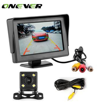 Onever 2in1 TFT LCD 2 Video Input 4.3 Inch Car Parking Monitor With Rear View Camera Backup Parking with 6M RCA Video Cable