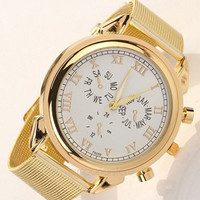 Gold Stainless Steel Alloy Women Quartz Analog Sport Wrist Watch (Color: Gold) = 1956683140