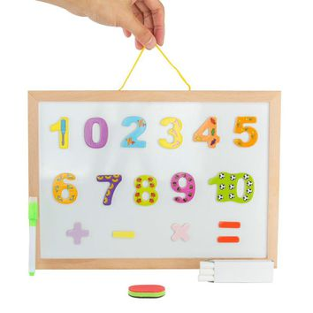 Kids Double Side Writing Painting Drawing Board Wooden Chalkboard with Magnetic Letter Puzzle Early Learning Educational Toys