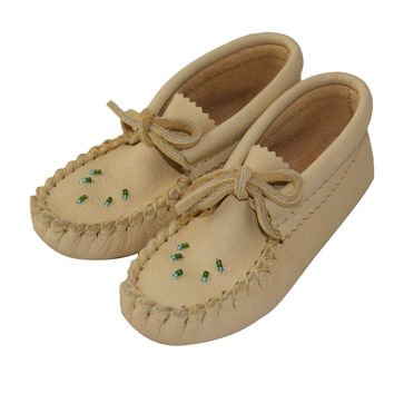 Children's Moosehide Leather Moccasins with Beading