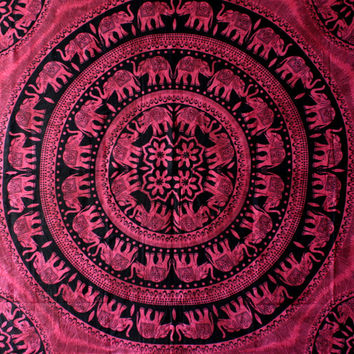 Maroon round Indian Mandala Elephant Tapestry  tapestry Wall Hanging  Wall Tapestry Bed Spread Bohemian Bed Coverlet Wall Art
