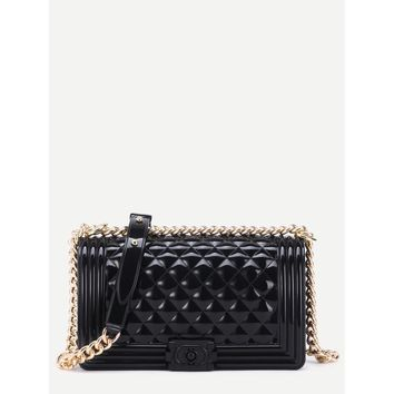 Mini Black Quilted Flap Jelly Bag With Chain