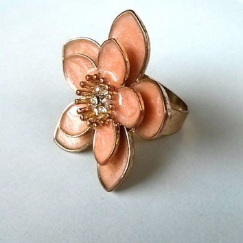 Vintage Inspired Coral Pink Flower with Diamond Golden Colored Ring Costume Jewelry Size 6