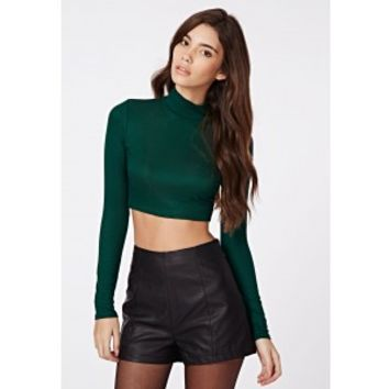 Dharma Ribbed Turtle Neck Long Sleeve Crop Top Deep Green - Tops - Crop Tops & Bralets - Missguided