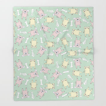 Raining Cats and Dogs Throw Blanket by lalainelim