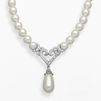Artistique Sterling Silver Crystal and Simulated Pearl Heart Y Necklace - Made With Swarovski Elements (White)