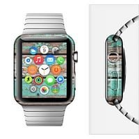 The Chipped Teal Paint On Wood Full-Body Skin Set for the Apple Watch