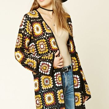 Geo Pattern Open-Knit Cardigan