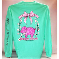 Southern Attitude Preppy Paisley Pig Sea Foam Long Sleeve T-Shirt