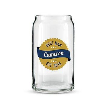 Beer Can Shaped Glass Personalized - Gold Seal Printing (Pack of 1)