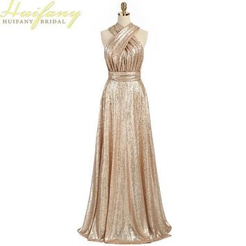 2017 Sparkly Convertible Maid of Honor Dresses A-line Long Cheap Gold Sequins Bridesmaid Dresses robe demoiselle d'honneur