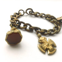 Antique Fob Charm Bracelet Carnelian Brass Collectible Edwardian Jewelry