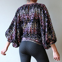 80s Sequin Blouse Vintage Batwing Shirt Disco Night Pink Sequined Top Chevron Design