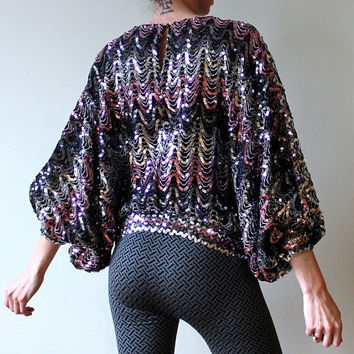 a7467b07f23f3 80s Sequin Blouse Vintage Batwing Shirt Disco Night Pink Sequined Top  Chevron Design