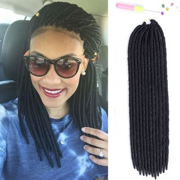 "Dingxiu(6Packs Deal,18"") Faux Locs Crochet Hair Twist Crochet Braids Kanekalon Fiber Braiding Hair Extensions Afro Dread Dreadlocks (1B)"