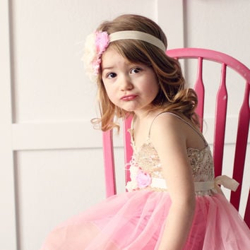 Gold Sparkle Spaghetti Strap Pink Tutu Dress