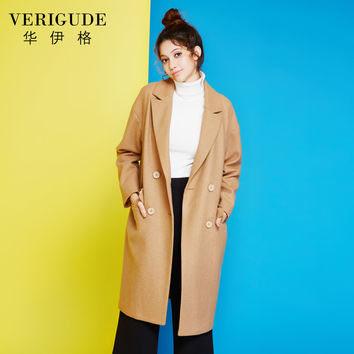 Veri Gude Women's Long Wool Coat High Quality Double Breasted Fashion Woolen Outwear Loose Fit Straight Style