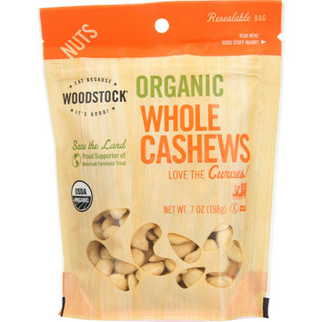 Woodstock Nuts - Organic - Cashews - Whole - Large - Dry Roasted - Unsalted - Raw - 7 oz - case of 8