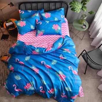 Pink Flamingo Duvet Cover Set Animal Bird Bedding Set King queen full twin double size cartoon Girls stripe flat sheet Bedspread