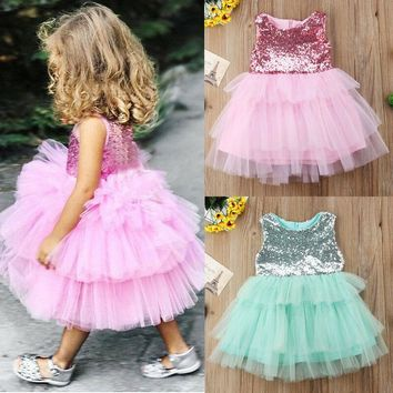 USA Newborn Kids Baby Girls Sequin Pageant Party Formal Bridesmaid Dresses hgtre