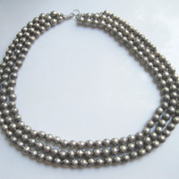 Triple Strand Sterling Mexican Ball Necklace