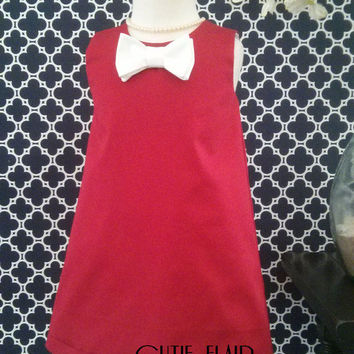 Girls Christmas Dress, Retro Girls Dress, Red and White Bow Tie, A line, Tunic, Boutique Style, Custom sizes 12M-7