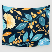 Teal and Golden Floral Wall Tapestry by noondaydesign