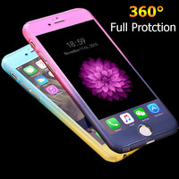 Luxury 360 Degree Full Body Protection Cases For iPhone 6 For iPhone 6S Plus Cover +Tempered Glass Fashion Gradient Accessories