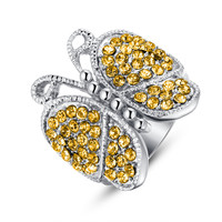 Stainless Steel Yellow Crystal Studded Butterfly Ring