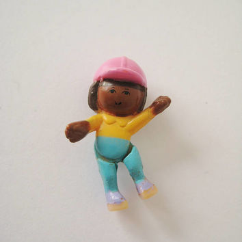 Vintage Polly Pocket Kim Figure Replacement Toy from 1995 Pony Jumpin' Fun Miniature Made to Sit on Horse Clean USED
