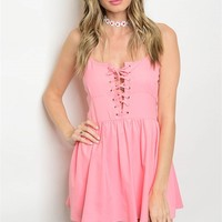 S15-1-5-R809 PINK LACE UP ROMPER 2-2-2