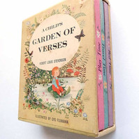 Gyo Fujikawa Child's Garden of Verses Three Hardcover Volumes of Robert Louis Stevenson Childrens Poems in Illustrated Slipcase