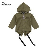 Fashion Cool Baby Kids Winter Warm Long Sleeve Hooded Coat Boys Toddler Button Coat Outerwear Jacket