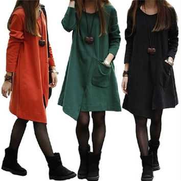 Tide Fashion Autumn Dresses New Women O-Neck Fat MM Casual Plus Size Solid Korean Loose Stitching Irregular Pocket Dress Tshirts