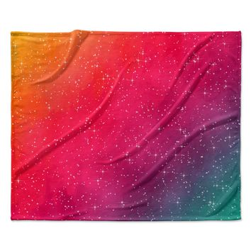 "Fotios Pavlopoulos ""Colorful Constellation"" Pink Glam Fleece Throw Blanket"