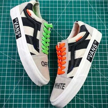 Off-White X Vans Vault Canvas Old Skool Flat Sneakers Sport Shoes
