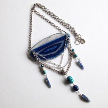 The Blue Agate Tribal Style Necklace with Turquoise Beads Kyanite Points and Silver Chain Boho Artisan Jewlery